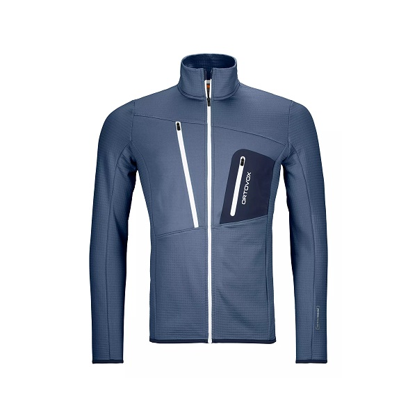 Mikina ORTOVOX Fleece Grid Jacket night blue